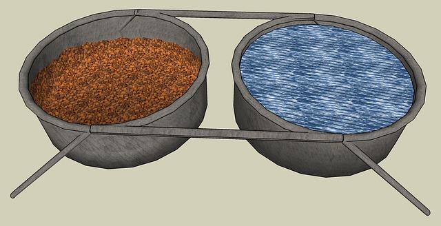misky na vodu a granule