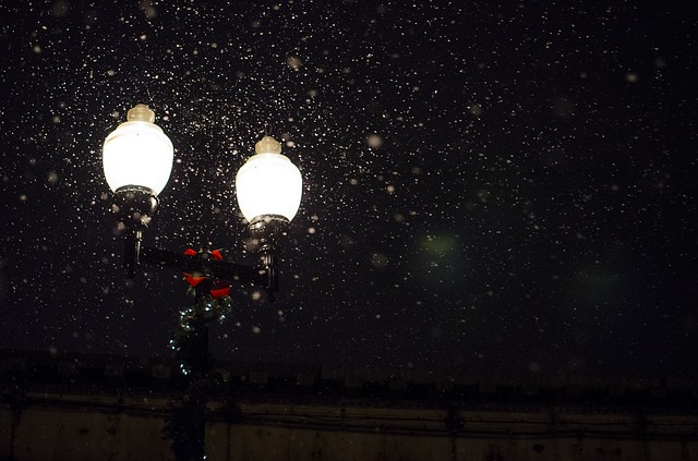 sněžení u lampy